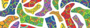 The image shows a drawing of lots of socks in different bright colours and with circle patterns all over them.
