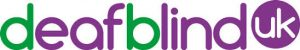 image shows the deafblind UK logo which is the word deafblind written in lowercase text. The letters 'd' and the 'b' are in green with the rest in purple. Alongside is a purple circle with 'UK' written in white text inside it.