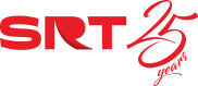 image shows the theatre logo, red capital letters spell SRT with 25 years to the side of it.