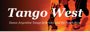 image shows an orange background and close up of two pairs of feet dancing and the logo Tango West in white writing over the top