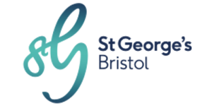 image shows a stylised letter S and G in green blue swirled font, with St George's Bristol written alongside in blue sentence case letters