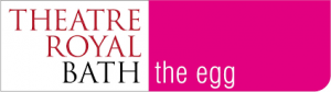 Image shows the Theatre Royal, Bath logo in capitals red and black against a black background, and the egg logo written in lower case white against a bright pink background