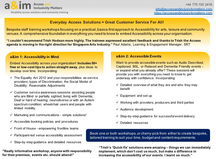 image shows promotional information for bespoke Accessibility training - details can be found on the website https://accessandinclusivitymatters.com